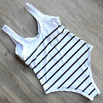 Элегантный стильный купальник Монокини в полоску XL, фото 3