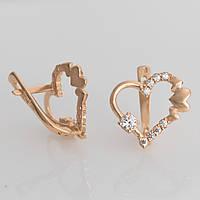 Золотые серьги сердце с камнями. ГП41105