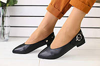 Балетки женские классические качественные удобные популярные без каблука (черные), фото 1