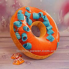 """3D Подушка декоративная Пончик """"Красный с синей стружкой"""". Подушка антистресс. Подушка-игрушка Пончик"""