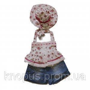 Летний нарядный комплект для маленькой девочки, Mantar Bebe, Турция Размеры 74, 80, 86