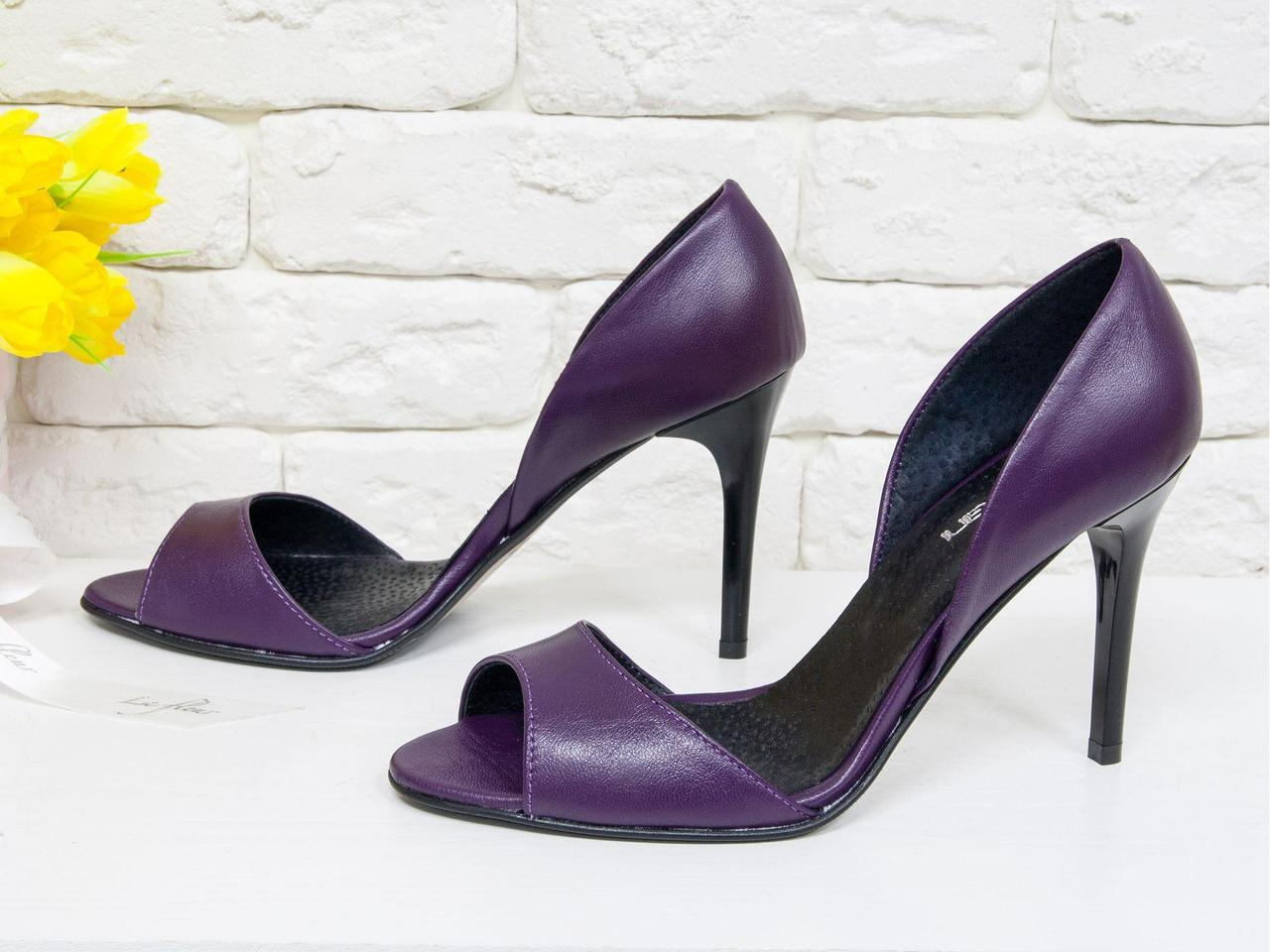 Босоножки из натуральной кожи фиолетового цвета каблуке-шпилька, С-704