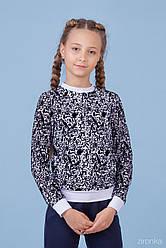 Нарядная кофта для девочки с диннім рукавом, трикотаж с бархатистым гипюром, Зиронька. Размері 122, 134