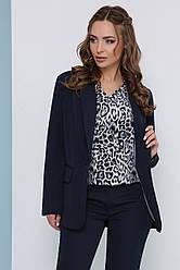 Стильный женский деловой пиджак на одну пуговицу однотонный темно-синий
