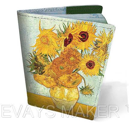 Обложка на паспорт кожаная Подсолнухи, фото 2