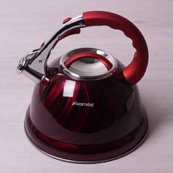 Чайник 3л из нержавеющей стали со свистком и бакелитовой ручкой Kamille 0690N