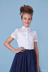 Нарядная белая блузка для девочки с  коротким рукавом, хлопок с гипюром, Зиронька, размеры 140-152