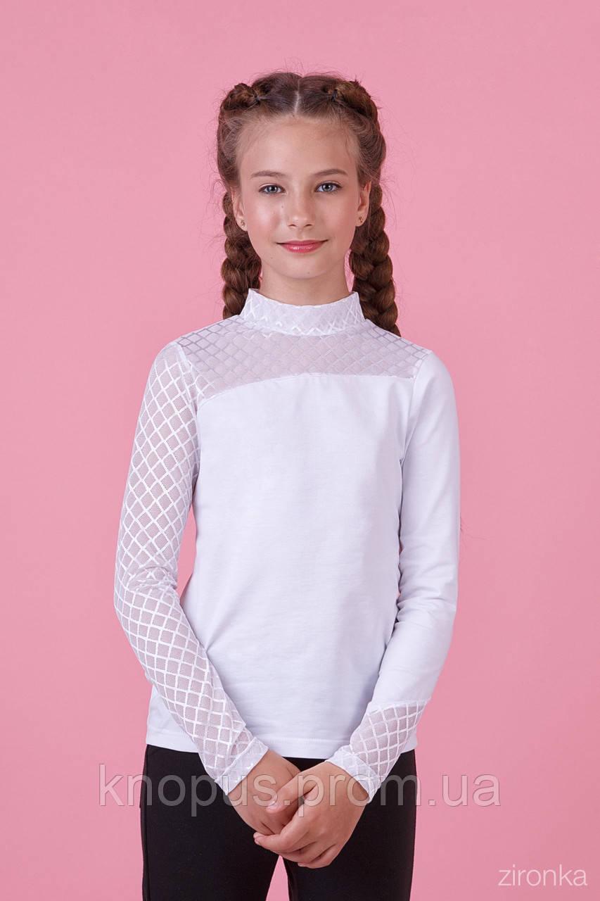 Белая блузка для девочки с  длинным рукавом, трикотаж с гипюром,  Зиронька, размер 116