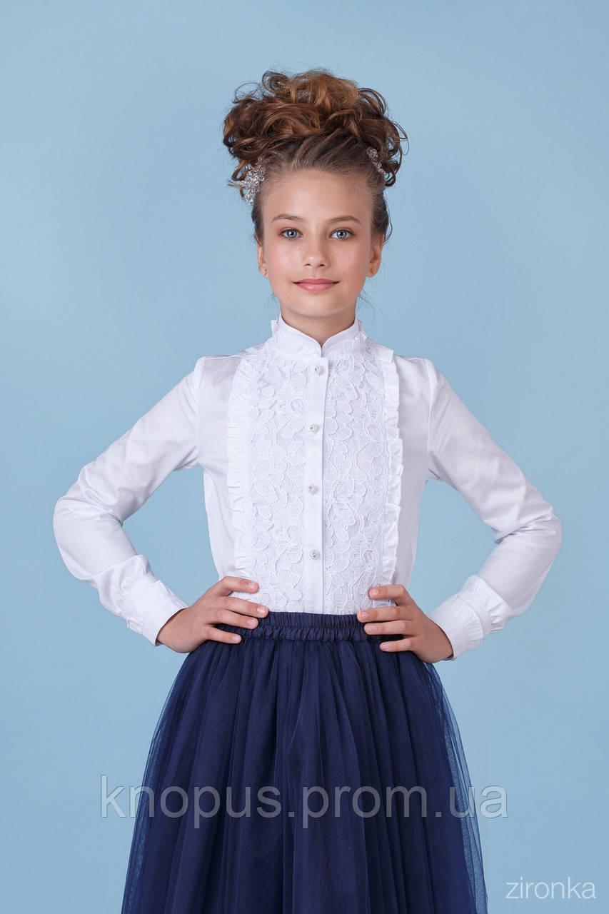 Нарядная белая блузка для девочки с длинным рукавом, хлопок с гипюром,  Зиронька, размеры 134, 146