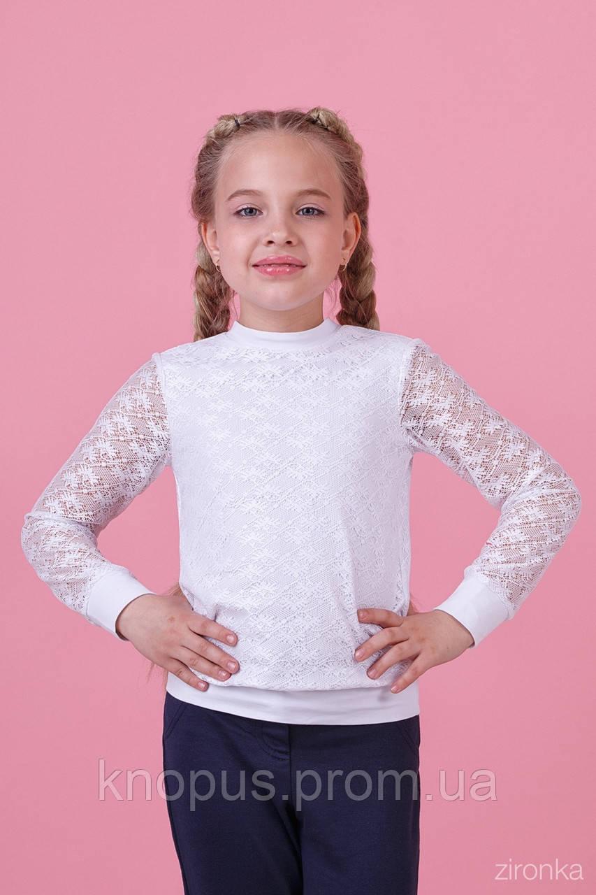 Нарядная белая кофта для девочки с длинным рукавом, трикотаж с гипюром, Зиронька, размер 128