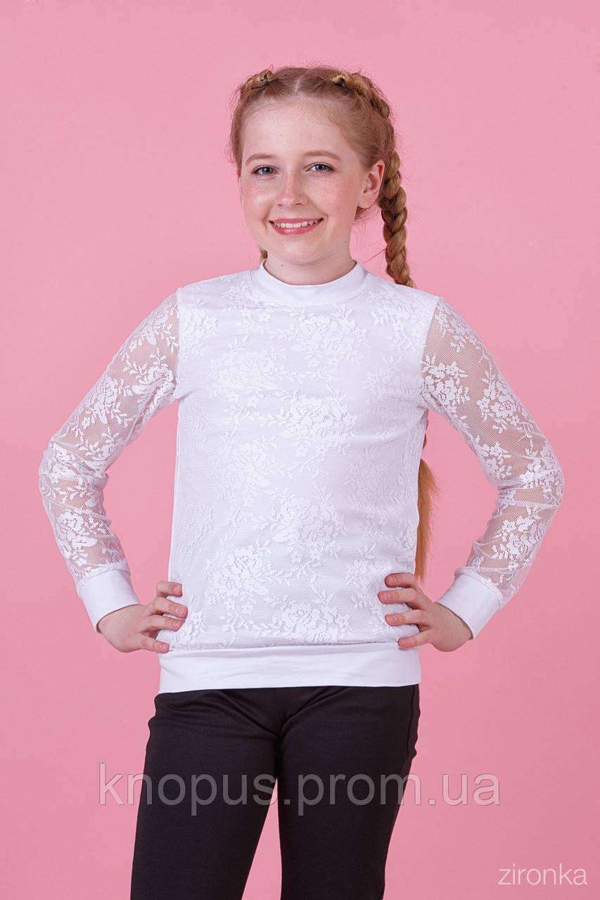 Нарядная белая кофта для девочки с длинным рукавом, трикотаж с гипюром,.Зиронька