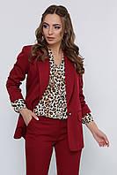 Стильный классический женский пиджак на одну пуговицу с подкладкой бордовый