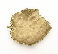 Бронзовый листик, маленькая посудина, шкатулка для колец, Германия, бронза, фото 1