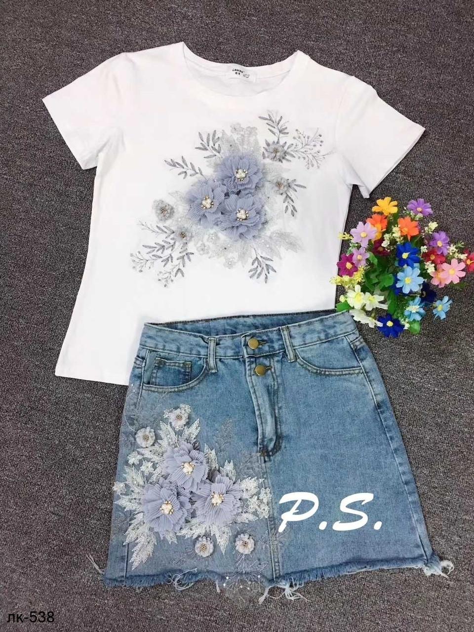 bcf3401bd86745 Купить Женский стильный костюм: футболка и джинсовая юбка 2 цвета в ...