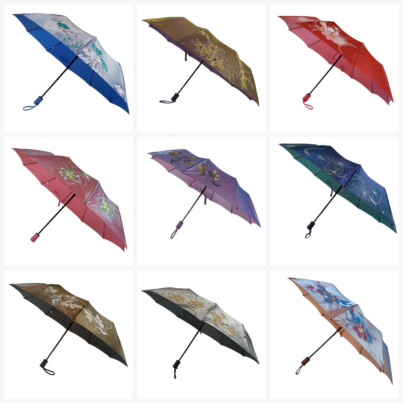 Женский зонт полуавтомат Bellissimo на 10 спиц с цветочным узором, 2018