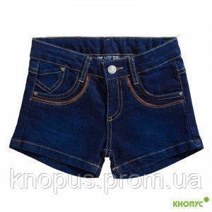 """Шорты для девочки  джинсовые """"Люкс"""" темно0синие,Girandola, размер 128"""