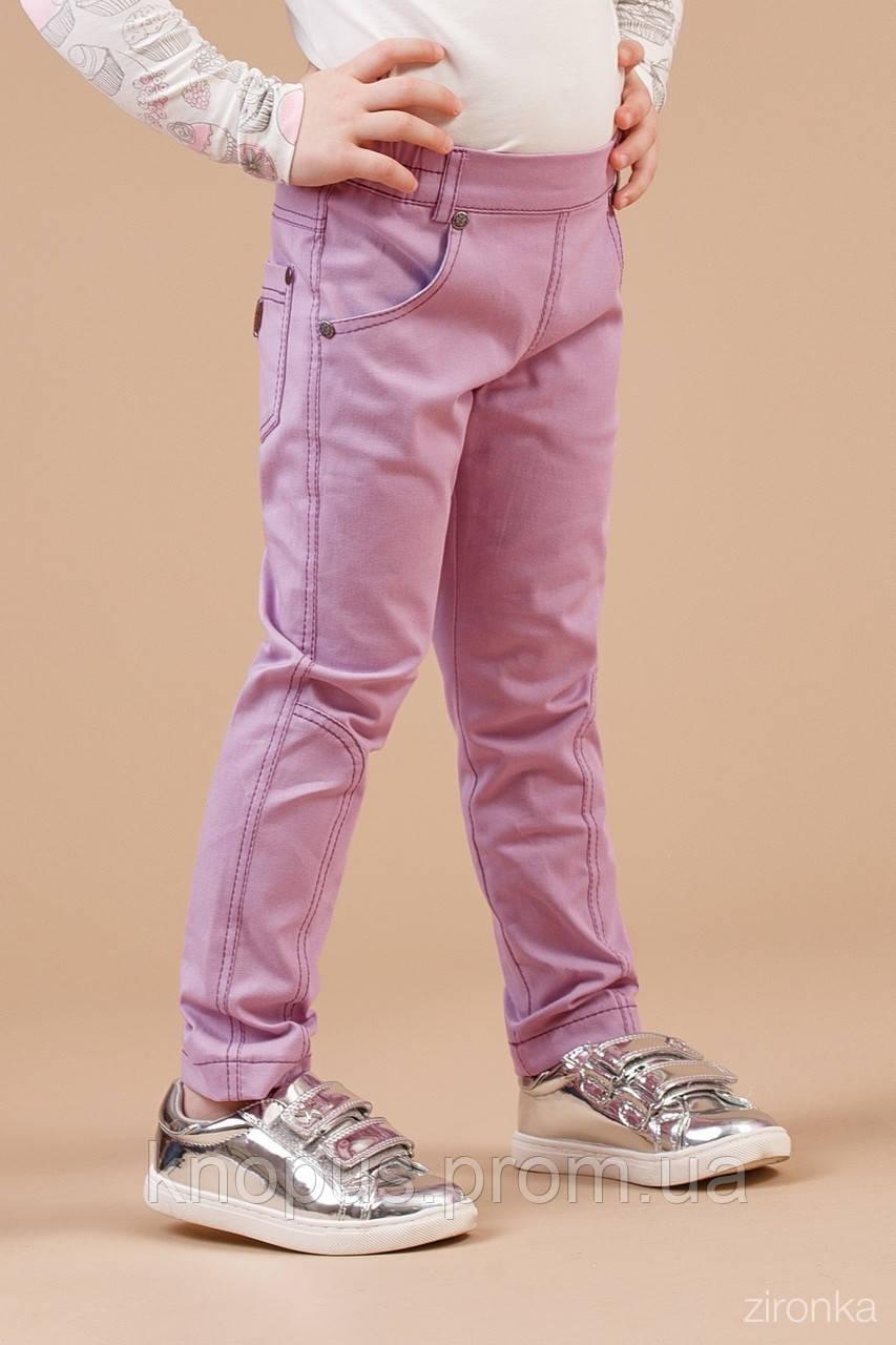 Брюки- джинсы для девочки, светло-сиреневые,  Zironka, размеры 110,  122
