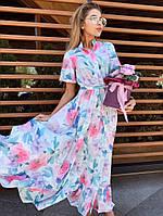 Летнее платье на каждый день спереди на пуговицах