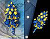 Бутоньерка в украинском стиле. Жёлто-синий жасмин