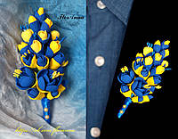 Бутоньерка в украинском стиле. Жёлто-синий жасмин, фото 1
