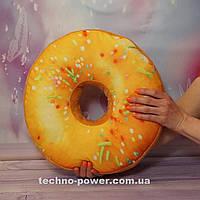 """3D Подушка декоративная Пончик """"Медовый"""". Декоративная 3D подушка-пончик. Подушка игрушка антистресс Пончик"""