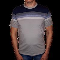 Футболка мужская серо-синяя с коротким рукавом