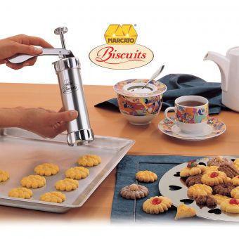 Кондитерский шприц пресс для печенья Marcato Biscuits, 20 насадок.