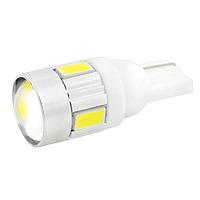 Лампа LED 12V T10 (W5W) 6SMD 5630 линза 140Lm БЕЛЫЙ, фото 1