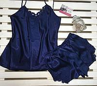 Красивая атласная женская пижама Jasmin синяя , фото 1
