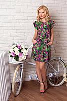 Яркое молодежное платье с модным принтом из итальянского шелка