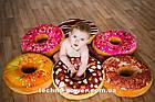"""3D Подушка декоративная Пончик """"Медовый"""". Декоративная 3D подушка-пончик. Подушка игрушка антистресс Пончик, фото 5"""