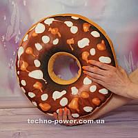 """3D Подушка декоративная Пончик """"Шоколадные капли"""". Подушка-антистресс. Подушка-игрушка Пончик"""
