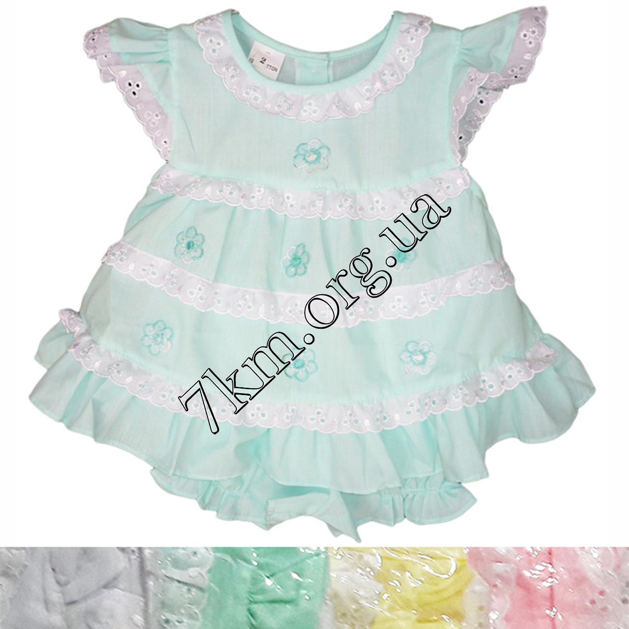 Платье с трусиками батист салатовое 6-18 месяцев Оптом 020516