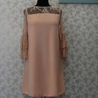 Платье нарядное, нежно-пудровое, декорированное кружевом, Польша №322