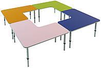 Комплект из 4 L-образных столов, ростовых групп № 1, 2, 3 — 2400х2400х460-520-580 мм, фото 1
