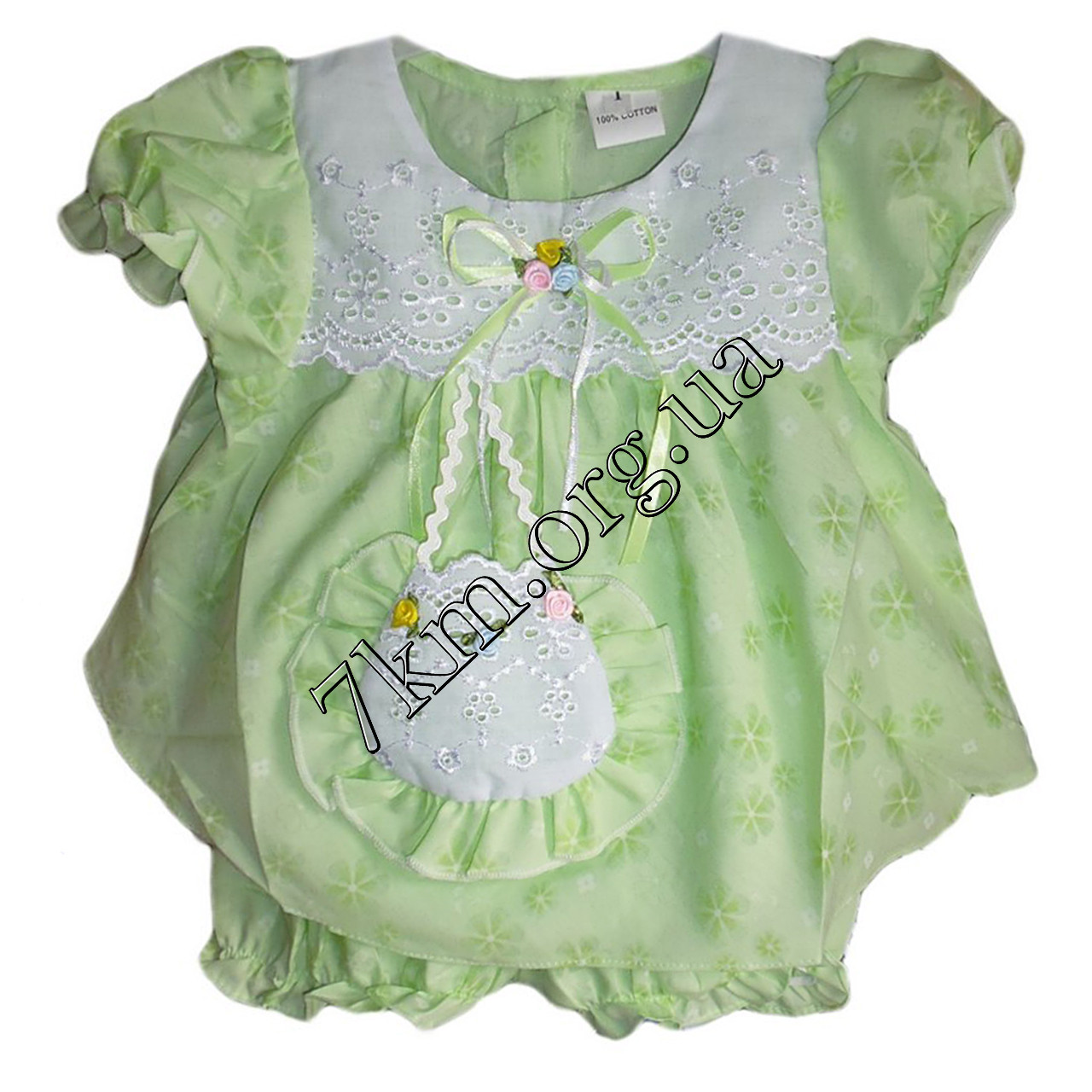 Платье с трусиками батист салатовое 6-18 месяцев Оптом 020532