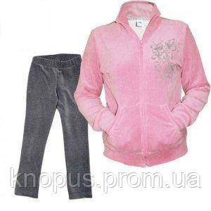Костюм для девочки  велюровый с брюками, розовый, LeJeko, размер 116