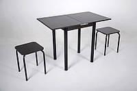 Кухонный комплект Тавол Компакт 60см х 50см ножки черный металл (Стол раскладной + 2 табуретки) Венге, фото 1