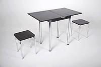 Кухонный комплект Тавол Компакт 60см х 50см ножки металл хром (Стол раскладной + 2 табуретки) Венге, фото 1