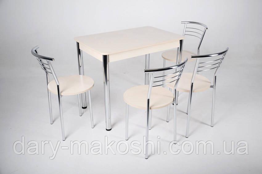 Стол Тавол Классик 93смх60смх75см хром металл + 4 стула Молочный