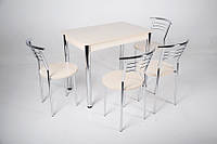 Стол Тавол Классик 93смх60смх75см хром металл + 4 стула Молочный, фото 1