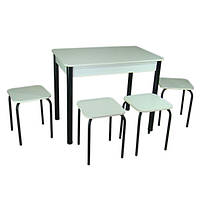 Кухонный комплект Тавол Классик (стол+4 табурета) 93х60х75 ножки металл черные Белый, фото 1