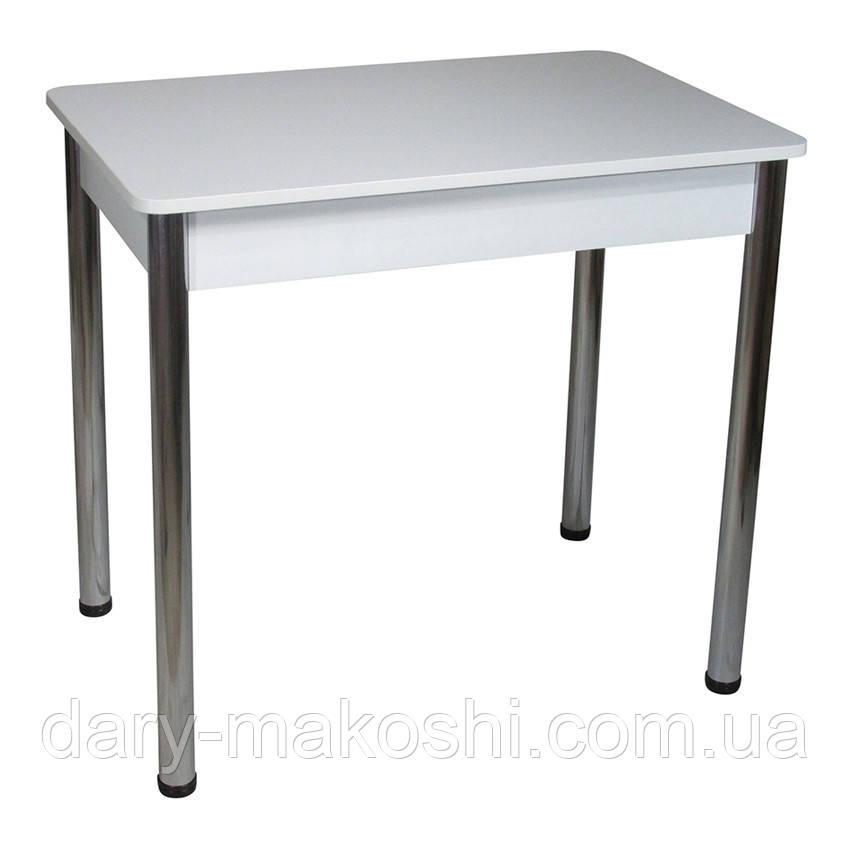 Стол Тавол Классик ноги металл хром 93 см х 60 см х 76 см Белый