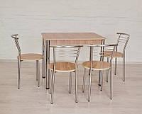 Обеденный комплект Тавол Классик (стол+4стула) 93смх60смх75см ножки хром Ясень, фото 1