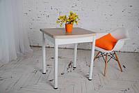 Стол раскладной Тавол Овале 60 см х 70 см х 75 см овальный ноги металл белые Ясень, фото 1