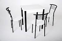 Кухонный комплект Тавол Овале ножки черный металл (Стол раскладной + 3 стула) Белый, фото 1