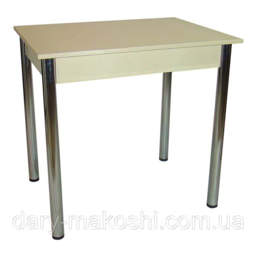 Стол Тавол Ретта 80см х 60см х 75 см ноги хром метал Молочный
