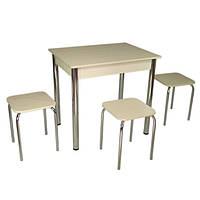 Обеденный Комплект Тавол Ретта (стол + 3 табурета) 80х60х75 металл хром Молочный, фото 1