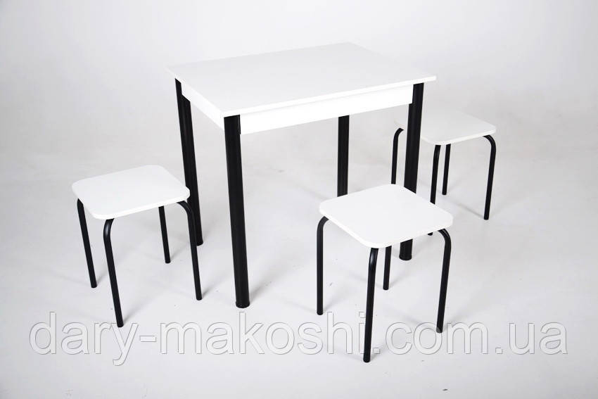 Стол Тавол Ретта не раскладной + 3 табурета 80х60х75 черный металл Белый