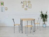 Обеденный комплект Тавол Ретта (стол не раскладной+3 стула) 80смх60смх75см ножки хром Молочный, фото 1